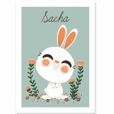 Affiche A4 les Animignons le lapin (personnalisable)