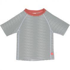Tee-shirt anti-UV manches courtes rayé col corail (2 ans)