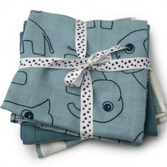 Lot de 3 langes Deer Friends bleu (70 x 70 cm)