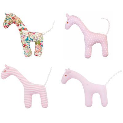 Lot de 4 hochets uniques girafe rose et liberty (12 cm)