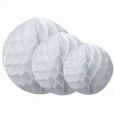 Boules en papier alvéolé blanches (3 pièces)