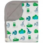 Couverture bébé animaux de la forêt bleu et vert (80 x 100 cm) - Fresk