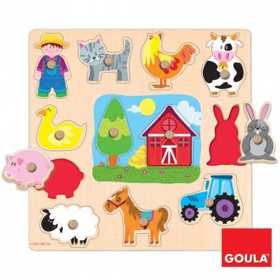 Puzzle Animaux, fermier et tracteur de la ferme (12 pièces)  par Goula