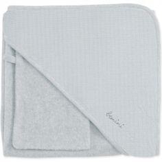 Cape de bain + gant Cadum gris moyen (90 x 90 cm)