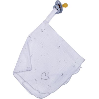 Doudou attache sucette en mousseline blanc et argenté BB & Co