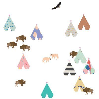Sticker Buffalo et tipis (26 x 19 cm)