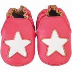 Chaussons cuir Cocon étoile framboise (0-6 mois)