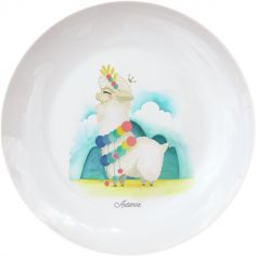Assiette en porcelaine Lama blanc (personnalisable)