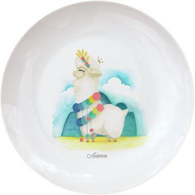 Assiette en porcelaine Lama blanc (personnalisable)  par Gaëlle Duval