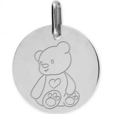 Médaille ourson personnalisable (or blanc 750°)