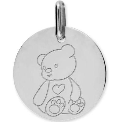 Médaille ourson personnalisable (or blanc 750°)  par Lucas Lucor