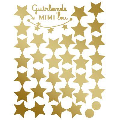 Sticker guirlande étoiles dorées brillantes