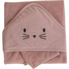 Cape de bain + gant chat terracotta (75 x 75 cm)