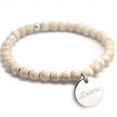 Bracelet de perles ivoire personnalisable (argent 925° et agate)