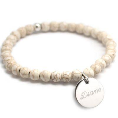 Bracelet de perles ivoire personnalisable (argent 925° et agate)  par Petits trésors