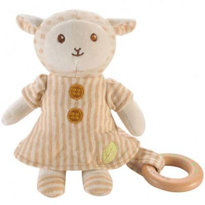 Peluche mouton avec anneau bois (17 cm) EverEarth