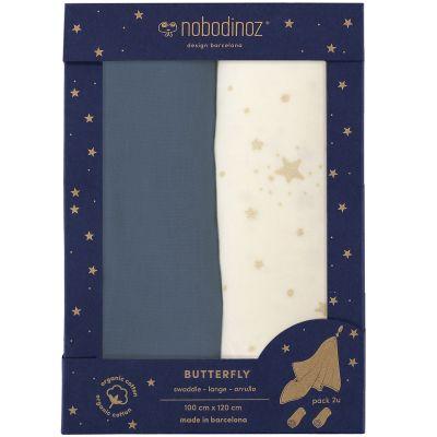 Lot de 2 maxi langes Butterfly blanc et bleu (100 x 120 cm)  par Nobodinoz