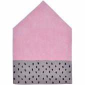 Tapis coton maison rose et gris Happy clouds by Aless Baylis (100 x 140 cm) - Lilipinso