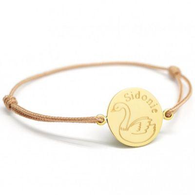 Bracelet cordon Cygne personnalisable (plaqué or)  par Petits trésors