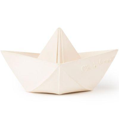 Jouet de bain bateau origami latex d'hévéa blanc  par Oli & Carol