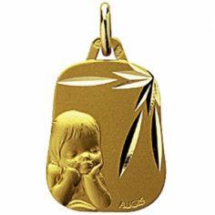 Médaille trapèze Enfant songeur (or jaune 750°)