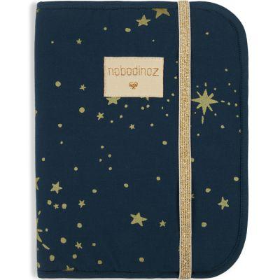 Protège carnet de santé Poema coton bio Gold stella Night blue  par Nobodinoz