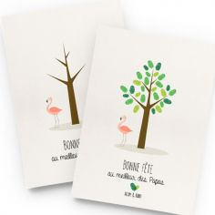 Kit mini arbre à empreintes flamant rose personnalisable (A4)