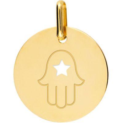 Médaille main de Fatma ajourée personnalisable (or jaune 750°)  par Lucas Lucor