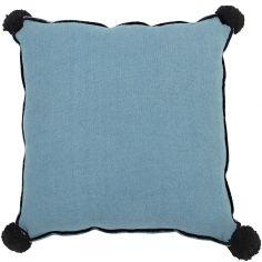 Coussin carré bleu pétrole (40 x 40 cm)
