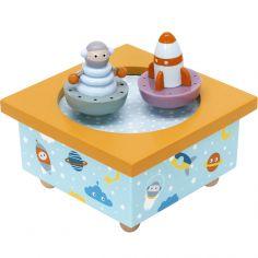 Boîte à musique magnétique cosmonaute et fusée