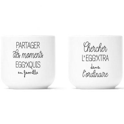Lot de 2 coquetiers en porcelaine Egg'xquis et Egg'xtra  par Créa Bisontine