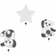 Lot de 3 patères panda Chao Chao