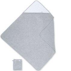 Cape de bain terry et jersey Stary gris  à points tom (90 x 90 cm)