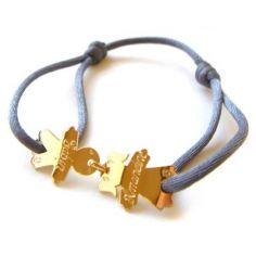Bracelet cordon 2 enfants 15 mm (or jaune 750°)