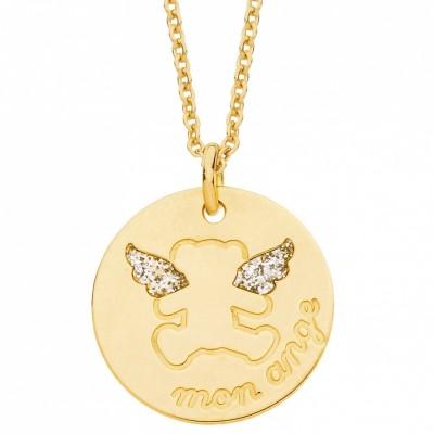 Collier chaîne et médaille ourson ange (or jaune 375°)  par LuluCastagnette