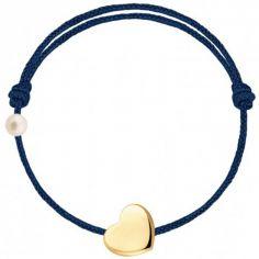 Bracelet cordon Coeur et perle bleu marine (or jaune 750°)