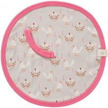 Attache sucette oiseau beige et rose en coton bio  par Fresk