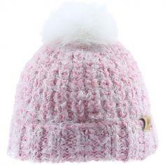 Bonnet en tricot pompon fourrure rose (12-18 mois)