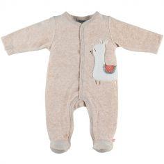 Pyjama chaud beige lama Sacha (1 mois)