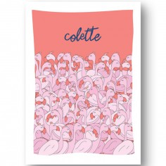 Affiche flamant rose Les copains personnalisable (21 x 29,7 cm)