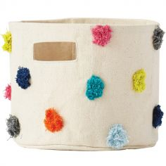 Panier de toilette pompons multicolores (20 x 18 cm)