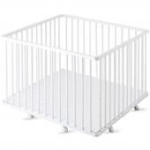Parc bébé pliable à plancher Gaby en bois massif laqué blanc (92 x 98 cm) - Combelle