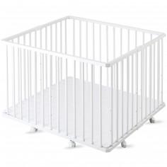 Parc bébé pliable à plancher Gaby en bois massif laqué blanc (92 x 98 cm)
