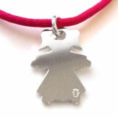 Pendentif petite fille 12 mm sur cordon (argent 925°)