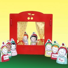 Théâtre marionnette en bois rouge