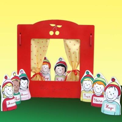 Théâtre marionnette en bois rouge Les Griottes