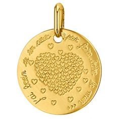 Médaille ronde Coeur 16 mm (or jaune 750°)