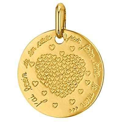 Médaille ronde Coeur 16 mm (or jaune 750°)  par Premiers Bijoux