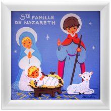 Tableau religieux Sainte Famille bleu (15 x 15 cm)  par Atelier de Rosbo