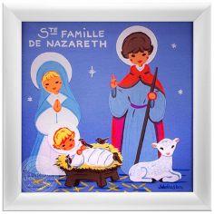 Tableau religieux Sainte Famille bleu (15 x 15 cm)